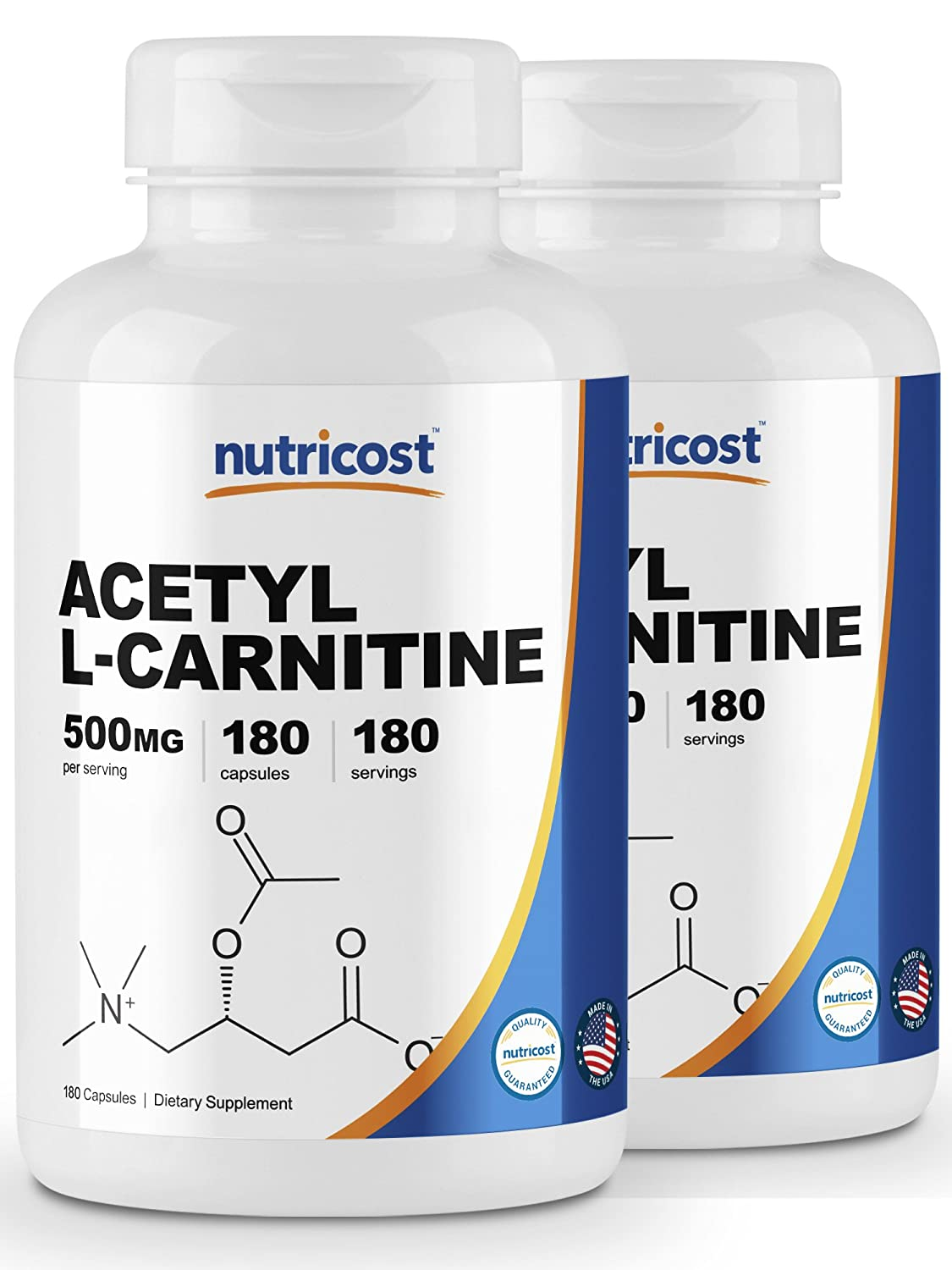 Nutricost Acetyl L-Carnitine 500mg, 180 Capsules 2 Bottles – Non-GMO and Gluten Free
