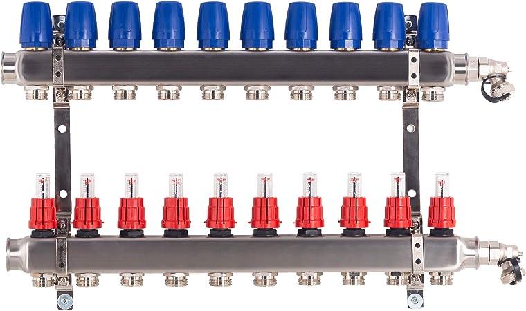 6 Heizkreise Heizkreisverteiler Edelstahl f/ür Fu/ßbodenheizung inkl Kugelh/ähne