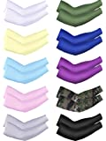 10 Pairs Cooling Sun Sleeves UV Protection Arm Sleeves Arm Cover Sleeve for Men Women