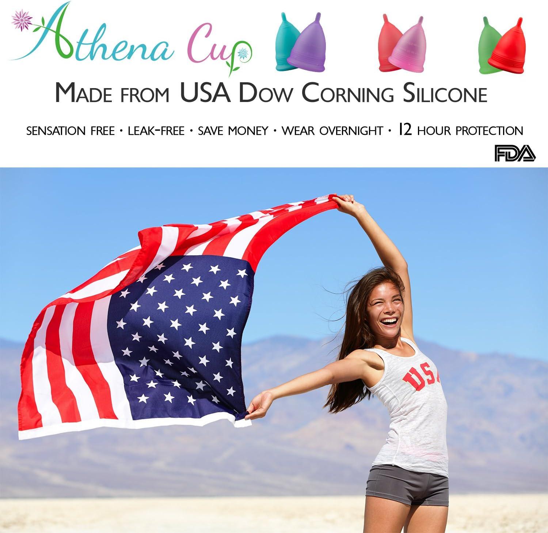 Athena Copa Menstrual – La copa menstrual más recomendada - Incluye una bolsa de regalo - Talla 2, Rosa liso - ¡Ausencia de pérdidas garantizada!