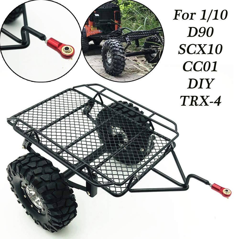 Hisoul for 1/10 D90 TRX-4 Truck RC Car Trailer Parts Plastic Metal Upgrade Trailer DIY Part Set (Black)