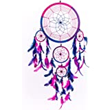 """Caught Dreams Dream Catcher ~ Handmade Traditional Royal Blue, Pink and Purple 8.5"""" Diameter and 24"""" Long"""