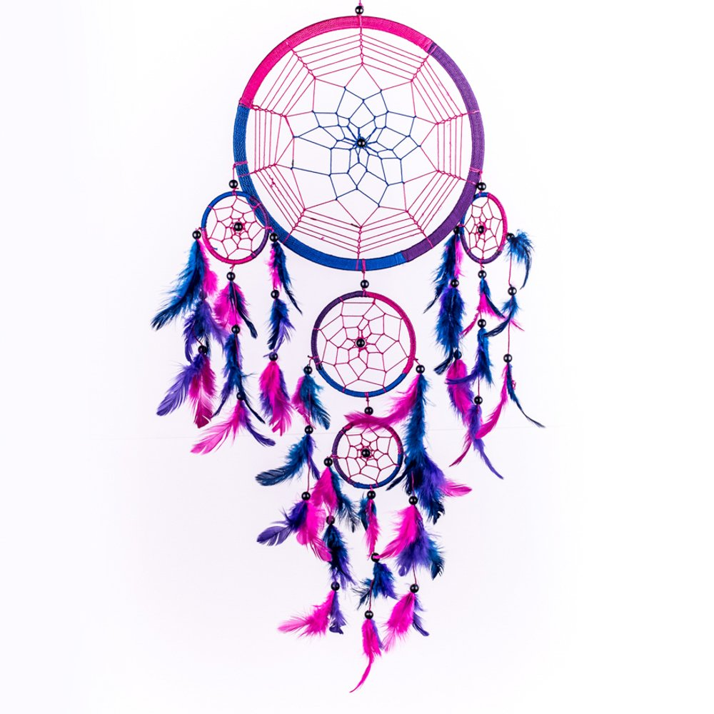 Dream Catcher ~ Handmade Traditional Royal Blue, Pink & Purple 8.5'' Diameter 24'' Long!