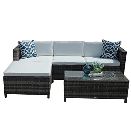 Amazon Com Patiorama 5pc Outdoor Pe Wicker Rattan Sectional