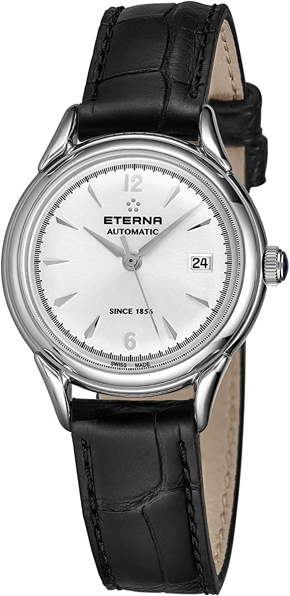 Eterna Heritage 1948 for Her Womens Automatic Watch - 30mm Silver Face with Date and Sapphire Crystal - Black Leather Band Swiss Made Ladies Luxury Dress Watch 2956.41.13.1389