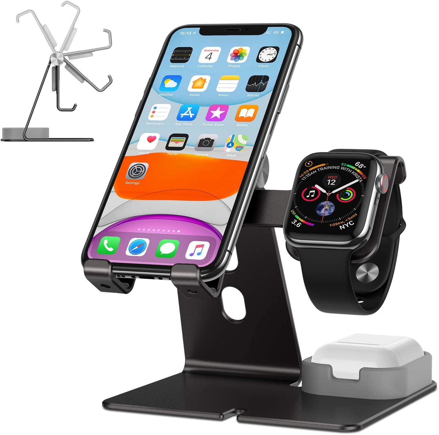 Apple Watch Stand - OMOTON Cell Phone Stand for Airpods, 3 in 1 Adjustable Charging Dock for Airpods 1/2, Apple Watch 5/4/3/2/1 and iPhone 11/11 Pro/11 Pro Max/XR/Xs/Xs Max, Black