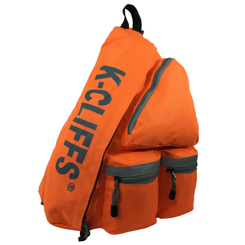 k-cliffs Reflectiveスリングバックパック/ボディバッグメッセンジャー/バッグDaypack /学校学生ブックバッグwith安全、明るい、ストライプオレンジ   B01MS9Z1WB