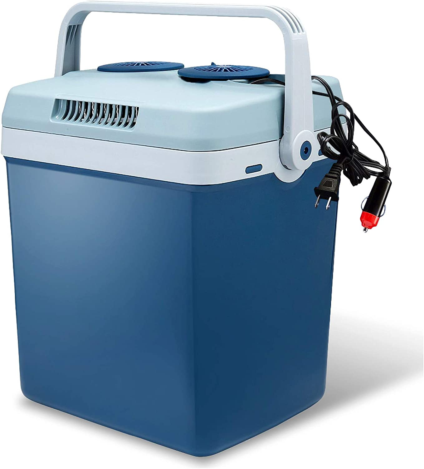 Lifestyle by Focus Electric Travel Cooler and Warmer for Car and Home - 27 Quart (25 Liter) Holds 30 Cans - Dual 110V AC House and 12V DC Vehicle Plugs
