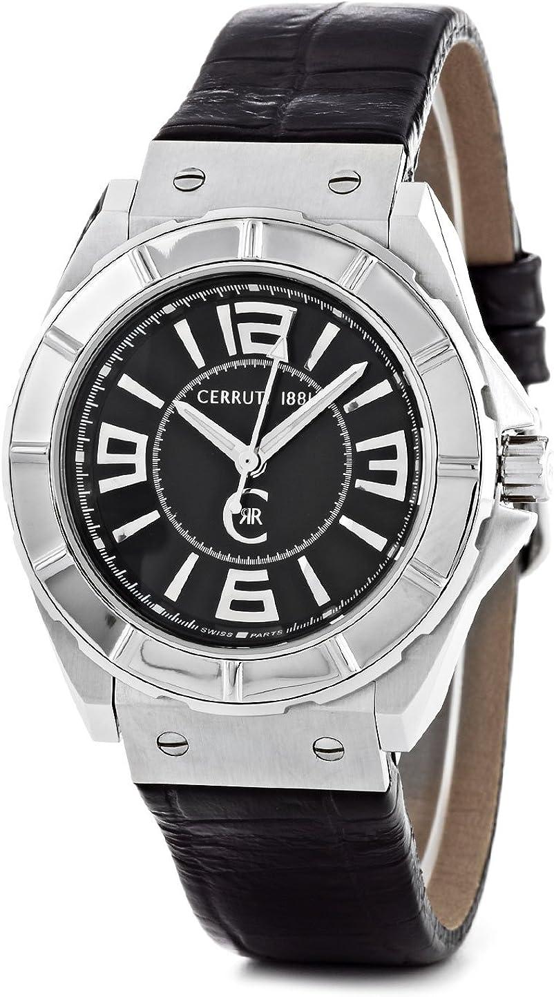 Cerruti CRA020A222B - Reloj analógico de caballero de cuarzo con correa de piel negra - sumergible a 100 metros