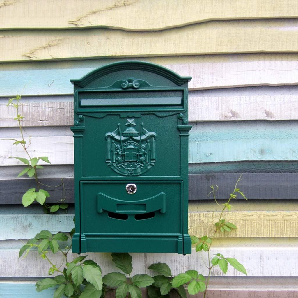 HLJ ヨーロッパのヴィラ盗難防止郵便箱屋外防水レターボックス壁掛けのクリエイティブポストボックス   B07J36LK44