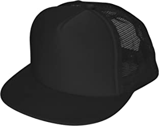 ae8a41e5110 DALIX Flat Billed Trucker Cap With Mesh Back M L XL Adjustable Hat (in 14  Colors