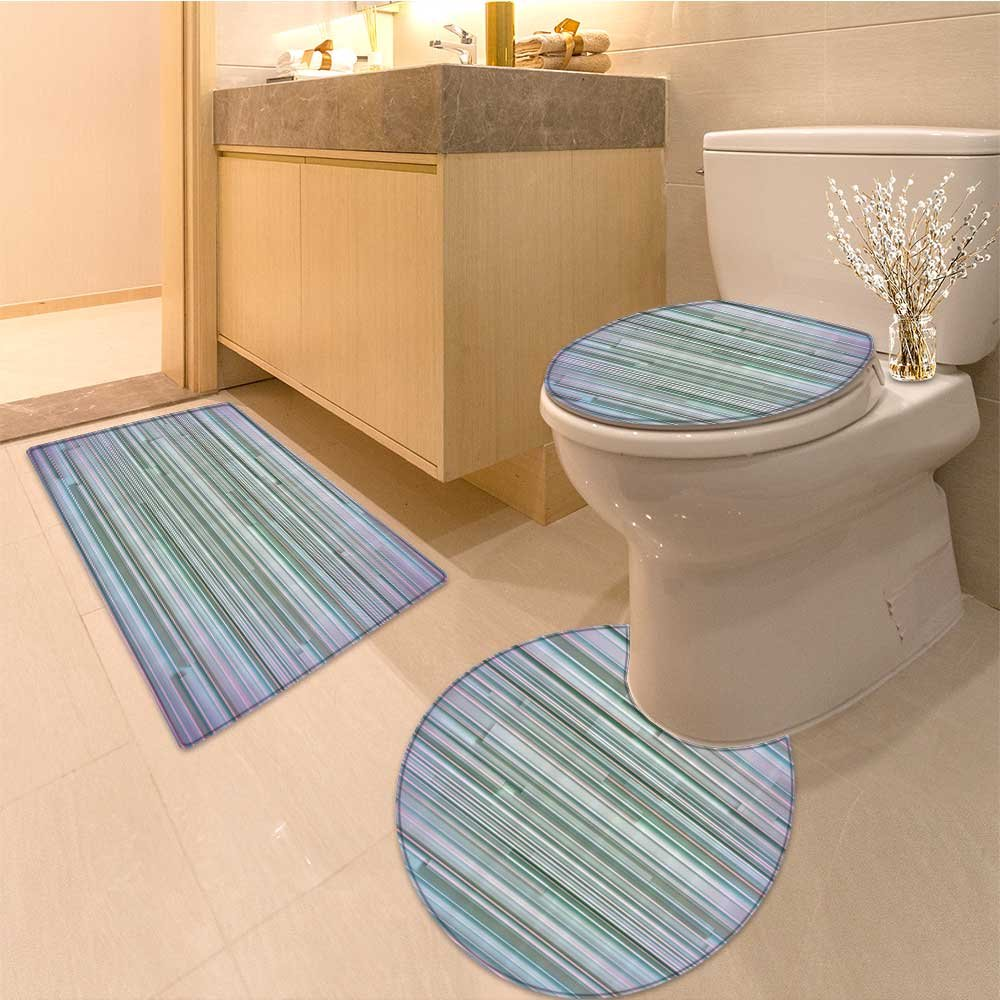 3 Piece Anti-slip mat set Mixed Paralle Flat Lines Merging Stripes in Various Levels Artwork Print Fabric Set Non Slip Bathroom Rugs