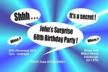 50 PERSONALISED SURPRISE PARTY INVITATIONS Card Invitations 18th