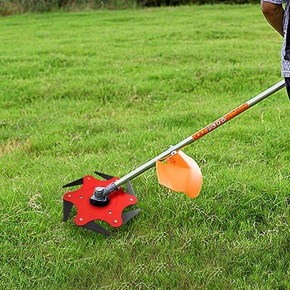 Trimmer Head Manganese Steel Alloy Six-Cutter Hit Grass Head Garden Lawn Mower Cutter Brush Cutter Tool 6 Steel Blades Razors 65Mn Lawn Mower Grass ...