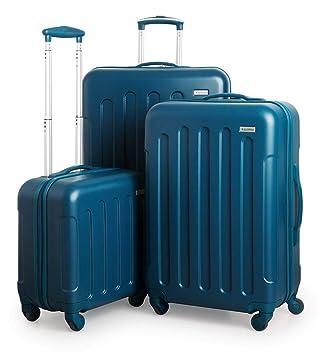 Suitline S3 - Set de Equipaje, 3 Maletas rigidas, Equipaje de Mano para Cabina + Maleta Mediana + Trolley de Viaje Grande, Azul Petróleo: Amazon.es: ...