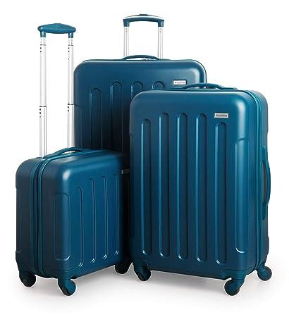 Suitline S3 - Set de Equipaje, 3 Maletas rigidas, Equipaje de Mano para Cabina + Maleta Mediana + Trolley de Viaje Grande, Azul Petróleo