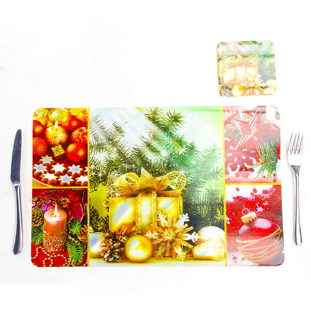 puhoon Christmas Table Mats, 6pcs/Set Christmas Table Mats and Cup Coaster, Dinner Home Decor Party Xmas Decorations Placemat Napkins, Candle,Christmas Ball,Santa Claus,Colorful Gift Box (A)