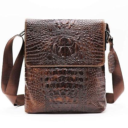 0f67fb38f1c 2019 New Fashion Alligator Genuine Cow Leather Vintage Men's Messenger Bag  Cross Body Shoulder Bags Casual&Business