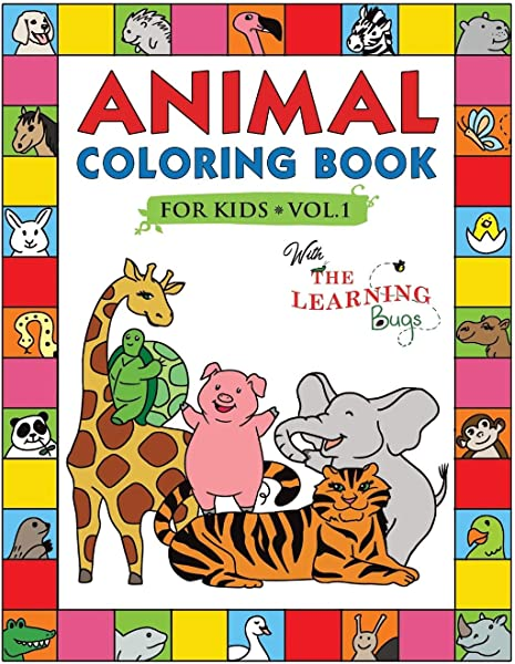 Shapes, Animals, Insects, Sea Educational Colouring Books /& Simple Words