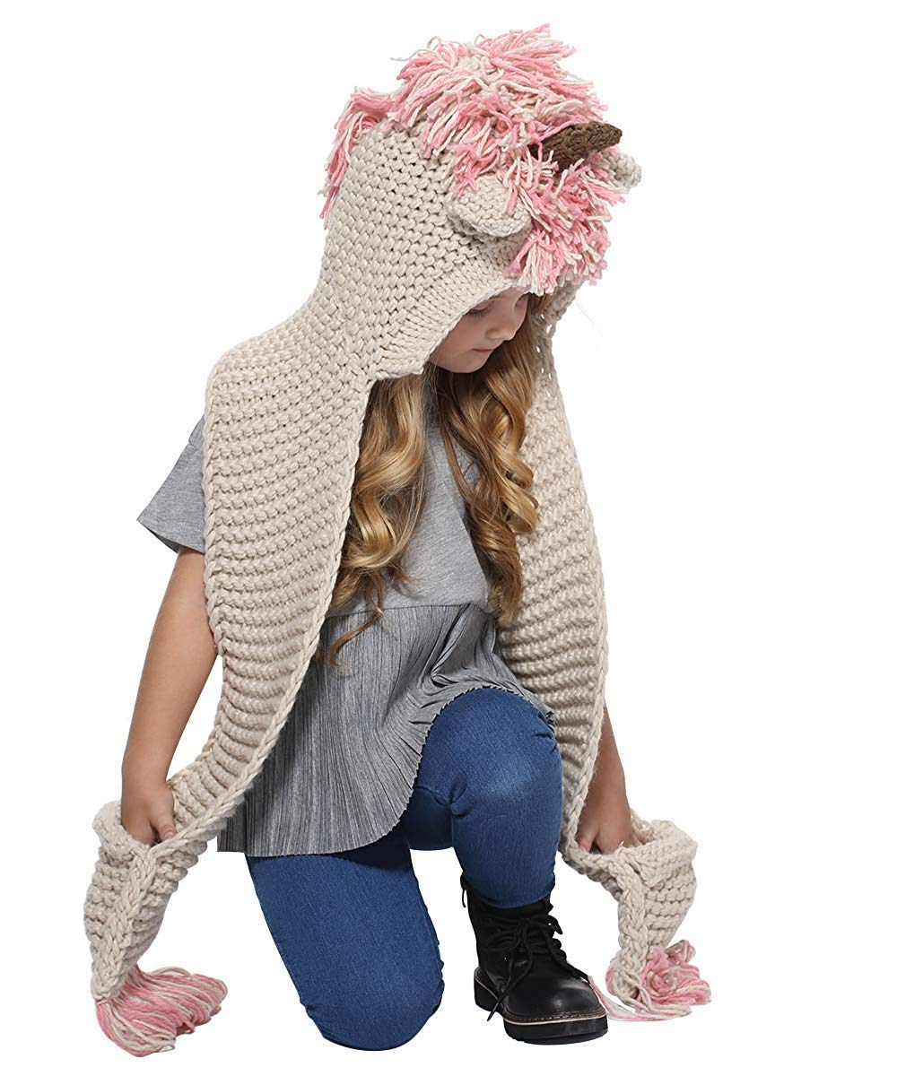 Crochet Cartoon Unicorn Hat and Scarf with Pockets for Girls Christmas Gift Winter Warm Hooded Scarf by KAISHANE