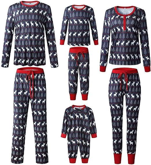 Kids Boys Girls Autumn Winter Christmas Elk Print Long Sleeve Top Plaids Pants