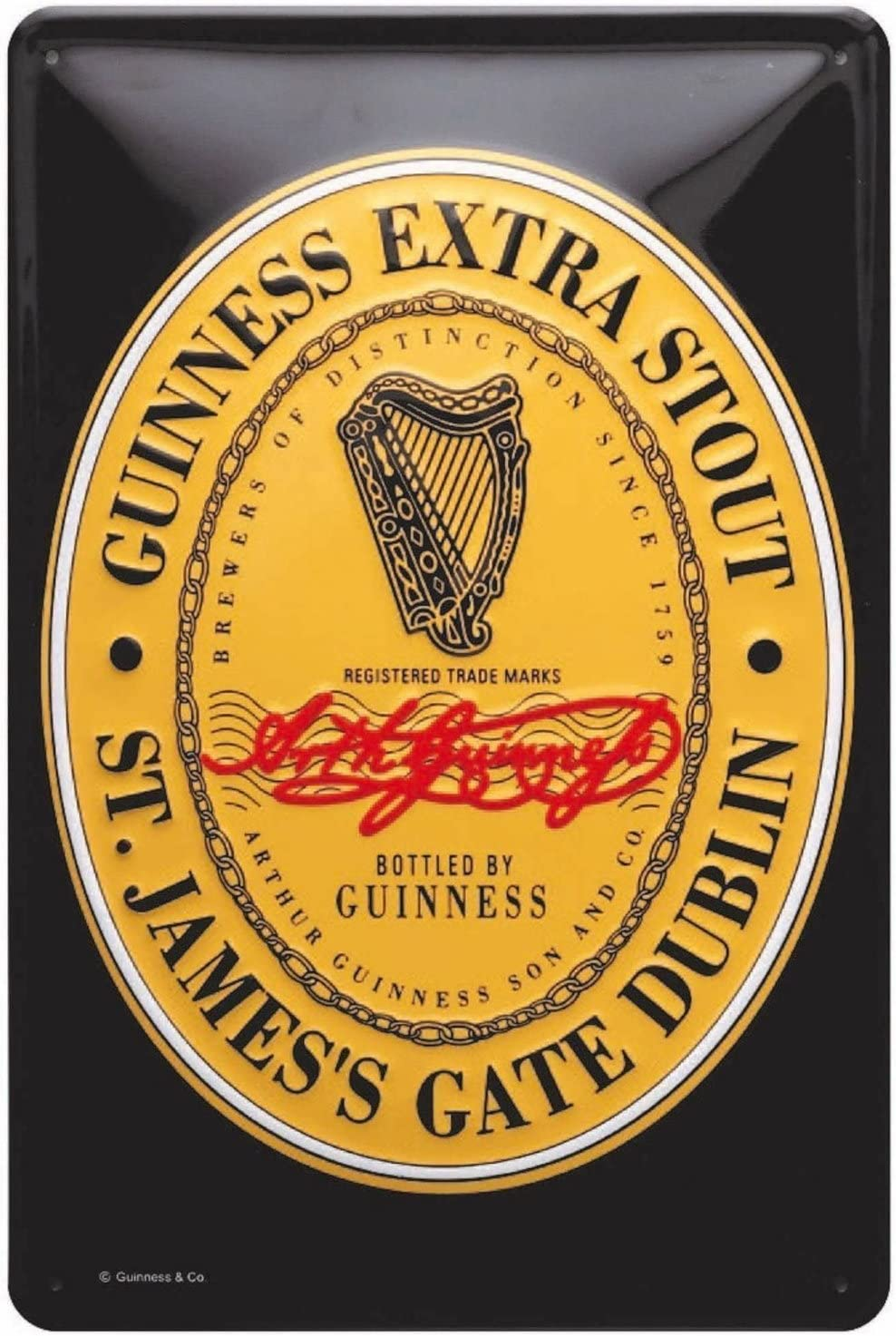 Guinness Metal Sign With Iconic Guinness Heritage Label (20Cm X 30Cm)