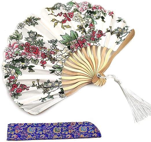 Chinese Japanese Hand Held Folding Flower Pattern Silk Bamboo Wedding Fan Gift