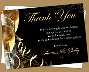 Personalised Golden Wedding Anniversary Thank You CardsDesign Code GWTY 002 Pack Of 12 Amazoncouk Office Products