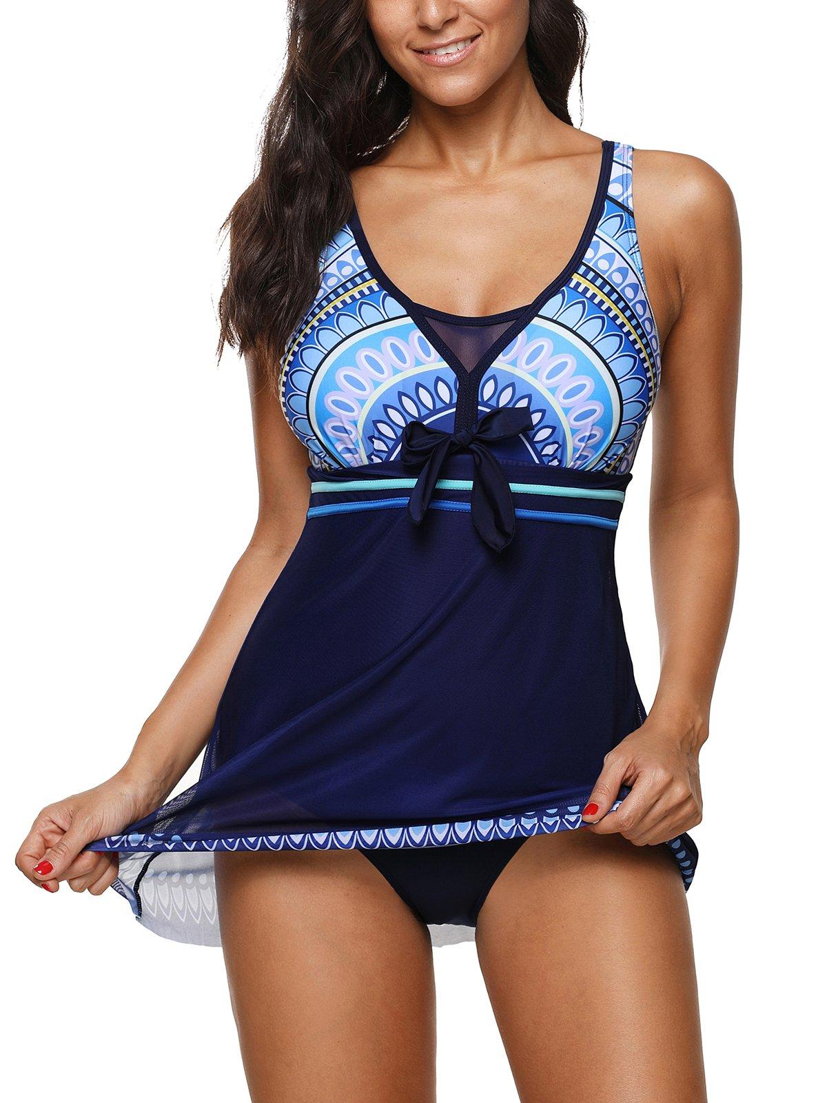 Century Star Women's One Piece Boy-Leg Bathing Suit Swimdress Printed Swimwear Swimsuits Blue S(US 2-4)