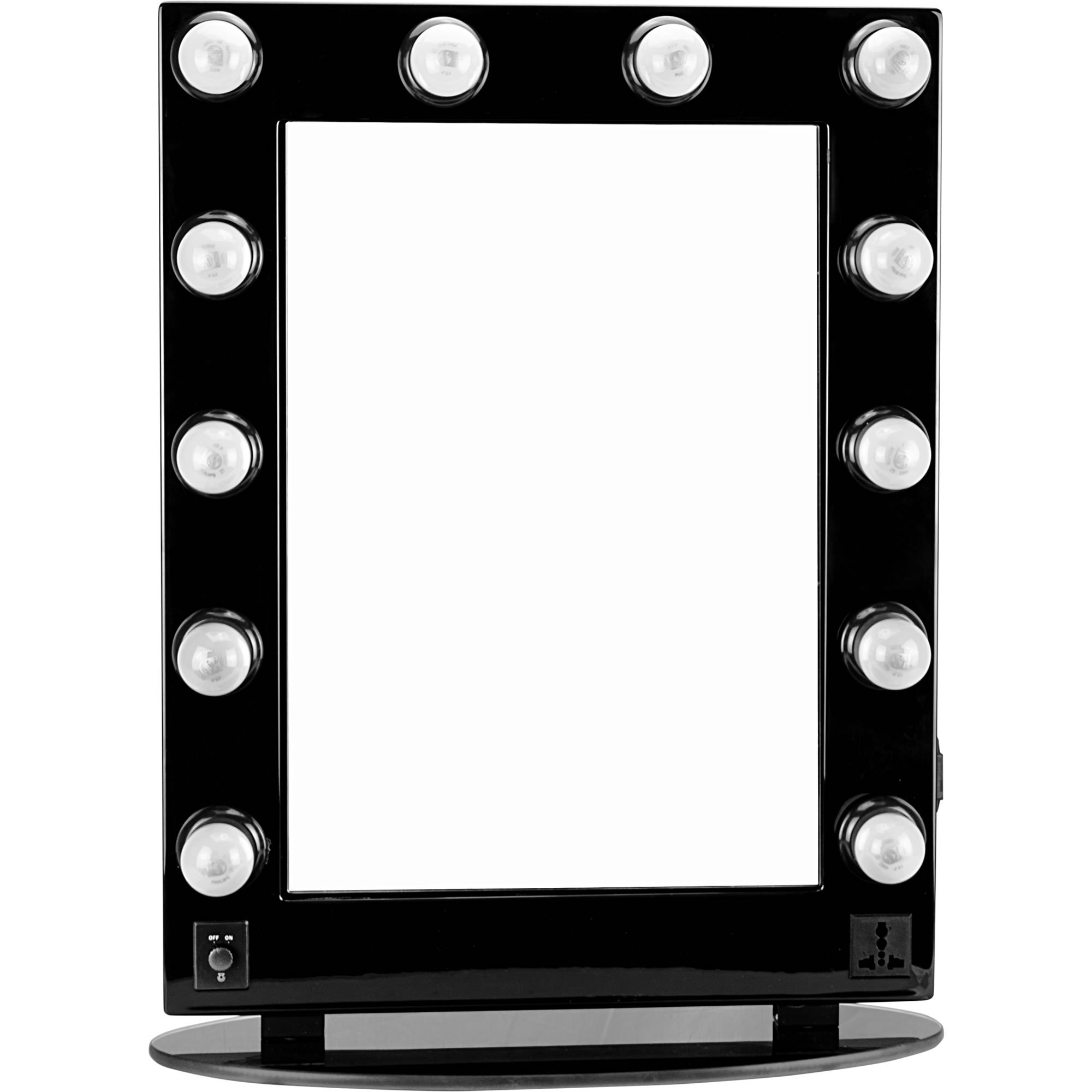 Hiker 12 Dimmer Light Piece Body and Glass Base Hollywood Vanity Makeup Wall Mount Mirror Table Top, Black