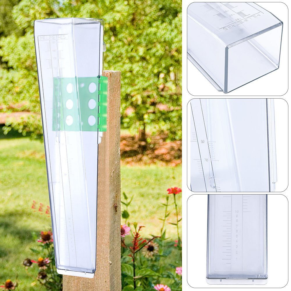 Rain Gauges, Easy Read Scale Water Rain Gauge Outdoor Garden Yard Raining Measure Tool with Mounting Plate