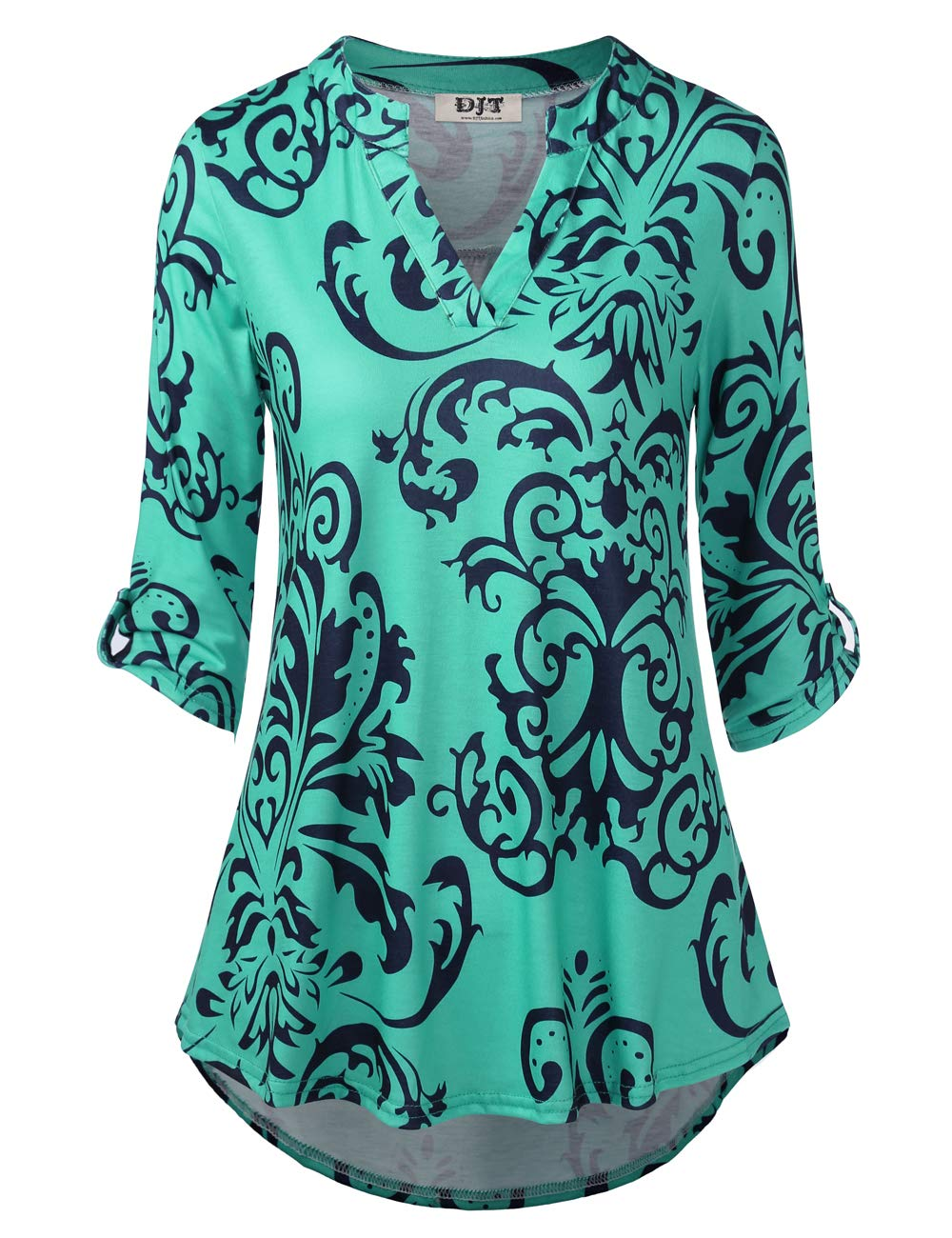 DJT FASHION Tunic Tops Women, Womens Floral Printed Tunic Shirts 3/4 Roll Sleeve Notch Neck Tunic Top XL Green Floral