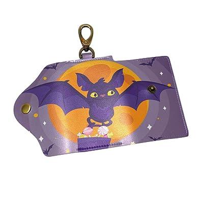 Amazon.com: Halloween Moon Bat - Funda de piel para llavero ...