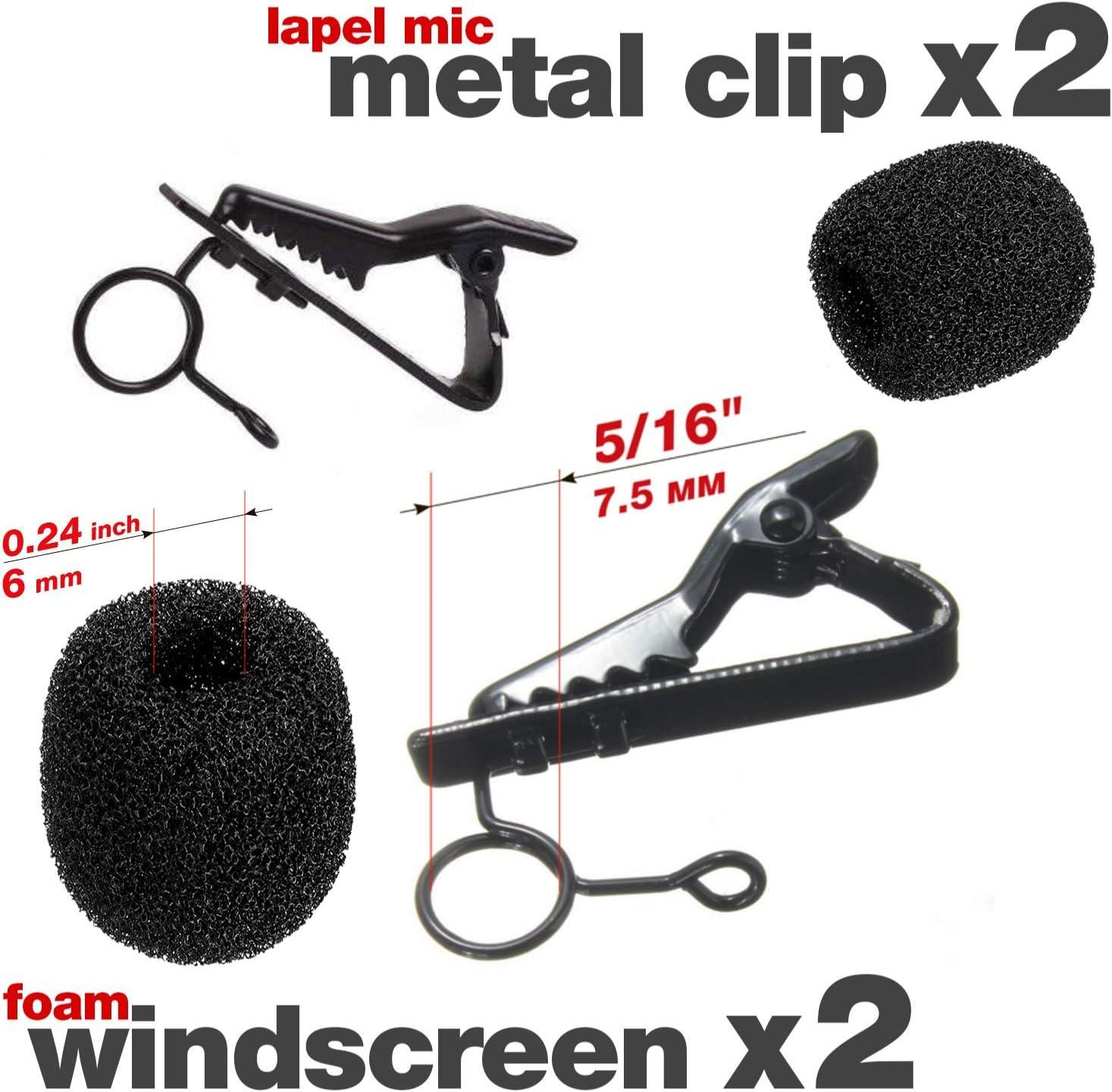"2 Lapel Mic Clip 5/16"" + 2 Foam Windscreen Cover Lav Mic Clip Lavalier Microphone Clips 7189OaWUIhL"