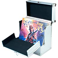 Aluminium Vinyl Record Storage Carrying Case by Retro Musique   Folding front flap gives better access to your LP's