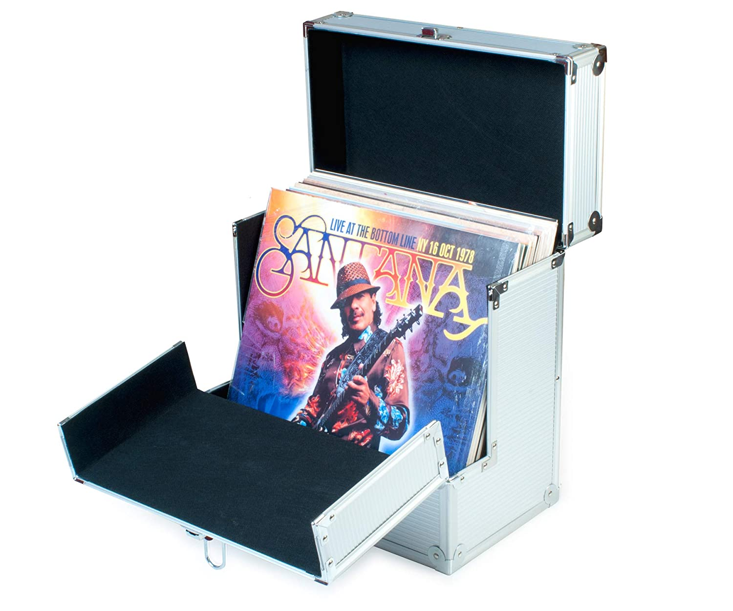Aluminium Vinyl Record Storage Carrying Case by Retro Musique | Folding front flap gives better access to your LP's Karrex