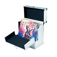 Aluminium Vinyl Record Storage Carrying Case by Retro Musique | Folding front flap gives better access to your LP's