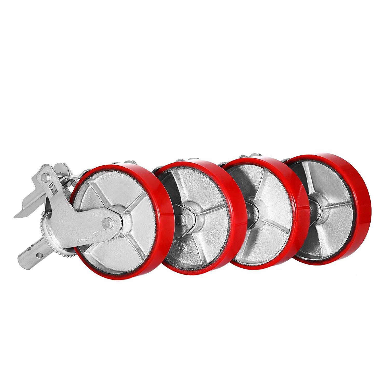 Simplego Scaffolding Casters 8 X 2 Inch Scaffolding Polyurethane Wheel Set of 4 Scaffolding Caster Iron Core PU Wheel Brake Lock Heavy Duty