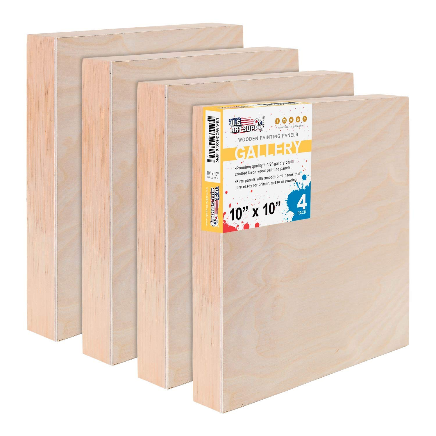 - Artist Depth Wooden Wall Canvases Gallery 1-1//2 Deep Cradle Encaustic Oil U.S Art Supply 10 x 10 Birch Wood Paint Pouring Panel Boards Pack of 4 Painting Mixed-Media Craft Acrylic