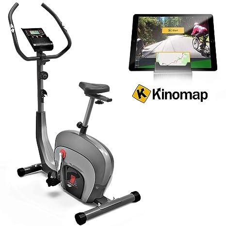 Sportstech ES400 Bicicleta estática para casa, Control de App para Smartphone, Volante de inercia de 10 kg, Bluetooth, Pulsometro, Sistema de Freno ...