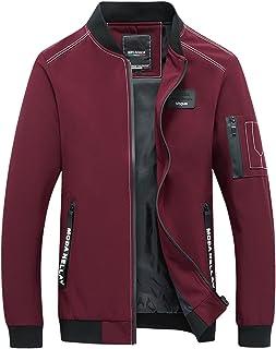 Yeokou Men's Casual Slim Fit Stand Collar Full Zip Up Windbreaker Fall Jacket