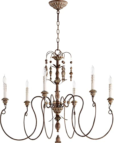 Quorum 6006-6-39 Traditional Six Light Chandelier from Salento Collection in Copper Finish