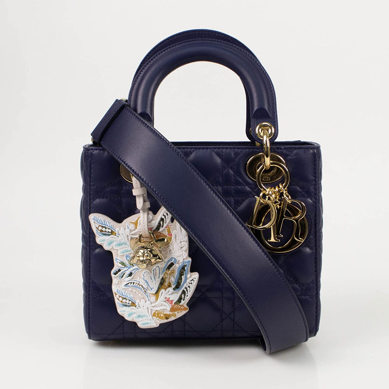 61d26bf9a3 Amazon.com: Christian Dior 'Lady Dior' Blue Cannage Leather Shoulder Bag:  Baby