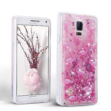 Mosoris Funda para Samsung Galaxy Note 4 Carcasa, 3D Bling Glitter Líquido Brillar Silicona TPU Cubierta Anti Arañazos Tapa Choque Absorción Cubierta ...