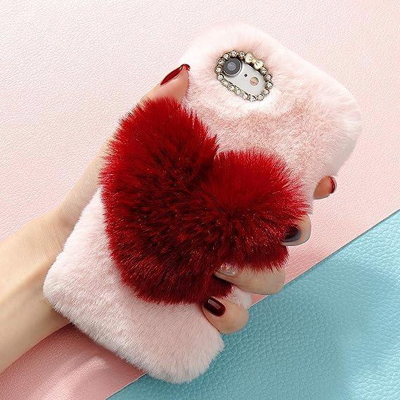 75c2ff2a50 Plush Cover iPhone 6 6S Cute Case Luxury Love Heart Faux Fur Soft Case  Flexible Fluffy