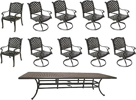 Amazon Com Sunvuepatio 11 Piece Outdoor Dining Set Nassau 46 X120 Rectangle Table Cast Aluminum Patiotable 8 Swivel Rockers And 2 Chairs Garden Outdoor