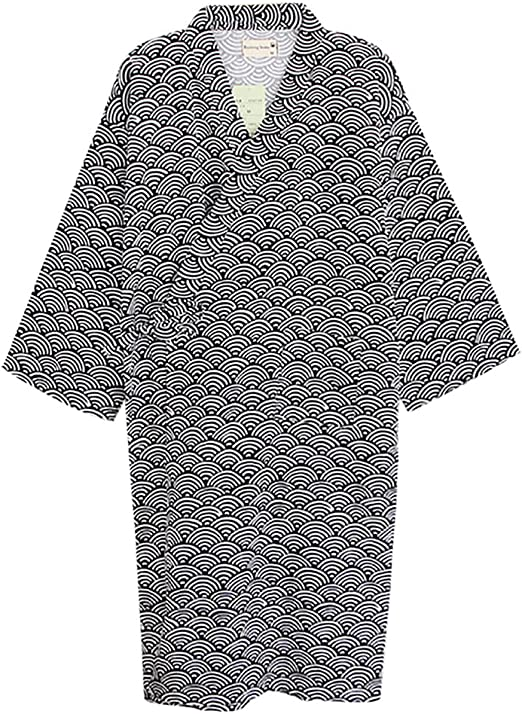 Fahion Unisex Pure Cotton Japanese Kimono Bathrobe Loose Pajamas Soft Sleepwear
