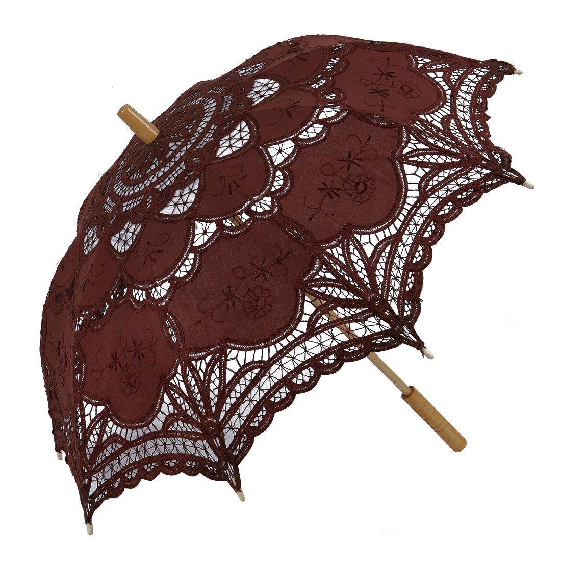 Topwedding Handmade Embroidery Pure Cotton Lace Wedding Parasol Umbrella, Brown