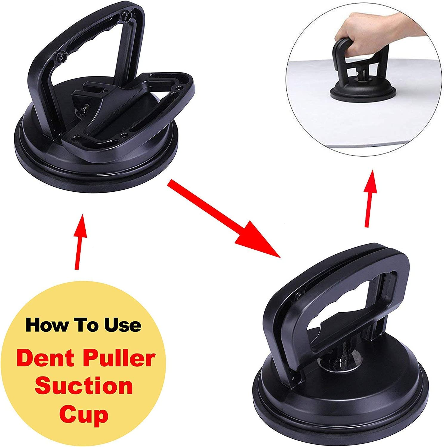 Car Dent Puller Handle Lifter Dent Remover for Car Dent Repair Black Aluminum Suction Cup Dent Puller Heavy Duty Glass Lifting and Objects Moving