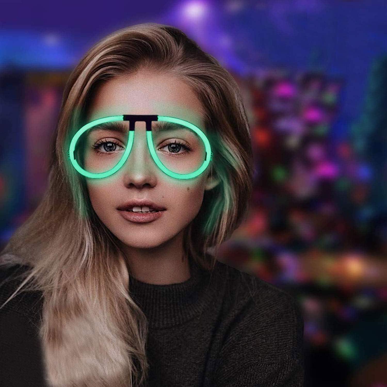 Lumistick Aviator Glow Eyeglasses | Light Up Neon Glow Eyewear | Illuminating Eye-catching Party Wear | Non-Toxic & Kids Safe Light Up Fluorescent Specs with Connectors (Assorted, 200 Eyeglasses)